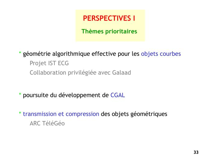 PERSPECTIVES I