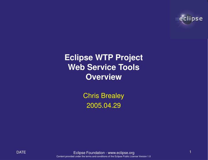 eclipse wtp project web service tools overview n.