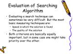 evaluation of searching algorithm
