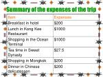 summary of the expenses of the trip