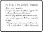 the body of the editorial details