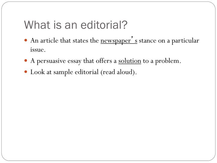 what is an editorial n.