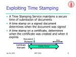 exploiting time stamping