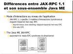 diff rences entre jax rpc 1 1 et son sous ensemble java me2