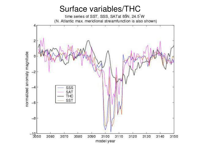 Surface variables/THC