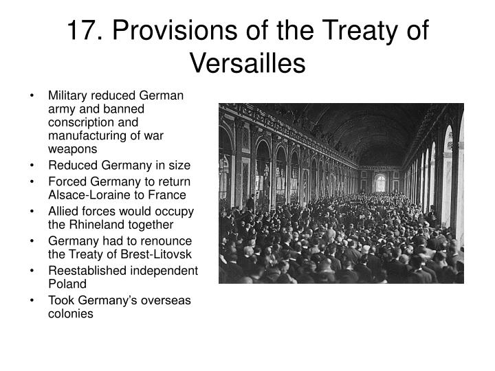 17. Provisions of the Treaty of Versailles