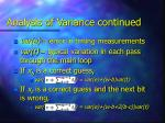 analysis of variance continued