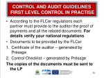 control and audit guidelines first level control in practise