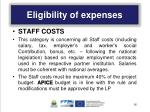 eligibility of expenses