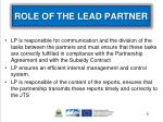 role of the lead partner