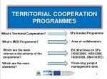 territorial cooperation programmes