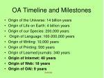 oa timeline and milestones