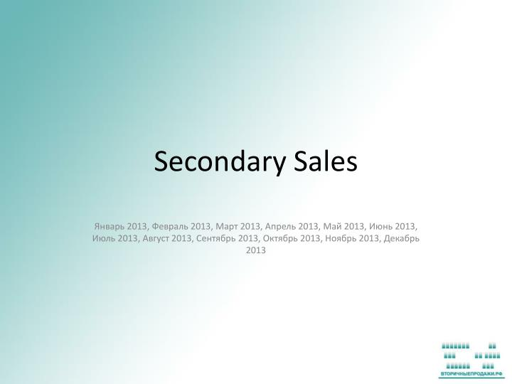 secondary sales n.
