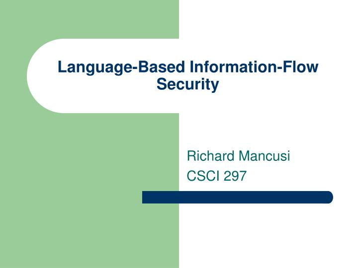 language based information flow security n.