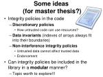 some ideas for master thesis