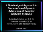 a mobile agent approach to process based dynamic adaptation of complex software systems