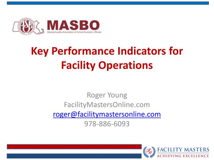 key performance indicators for facility operations n.