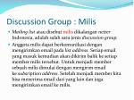 discussion group milis