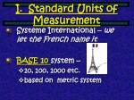 i standard units of measurement