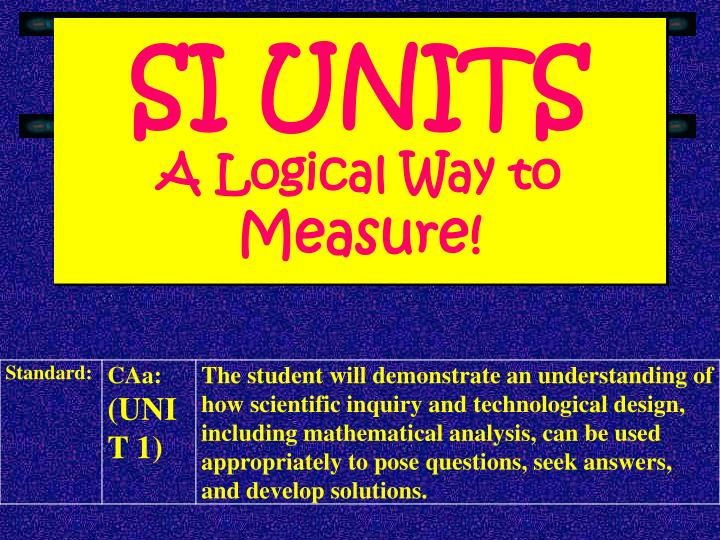 si units a logical way to measure n.