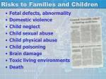 risks to families and children