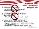 a potential deal killer disclosure of sensitive info