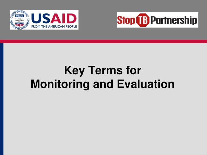 key terms for monitoring and evaluation n.