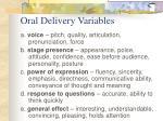 oral delivery variables