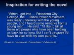 inspiration for writing the novel