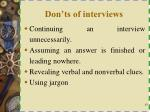 don ts of interviews