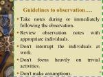 guidelines to observation1