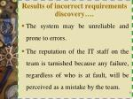 results of incorrect requirements discovery1