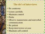 the do s of interviews