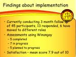 findings about implementation