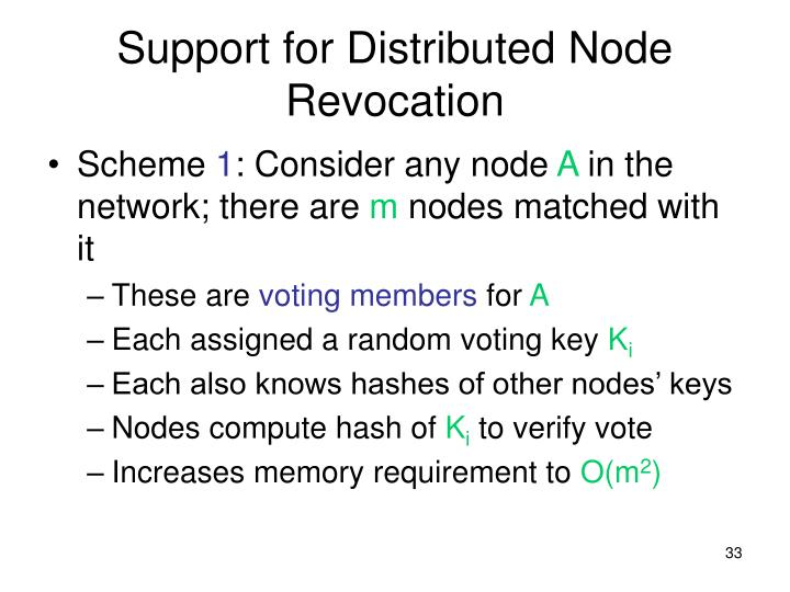 Support for Distributed Node Revocation