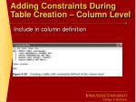 adding constraints during table creation column level