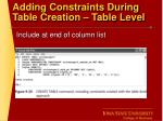 adding constraints during table creation table level
