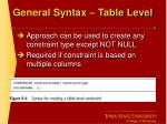 general syntax table level