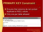 primary key constraint