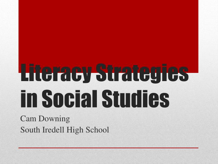 literacy strategies in social studies n.