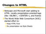 changes to html