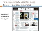 tables commonly used for page layout not recommended1