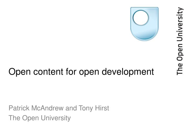 open content for open development n.