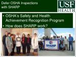 defer osha inspections with sharp