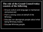 the role of the grand council today consists of the following