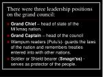 there were three leadership positions on the grand council