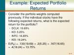 example expected portfolio returns