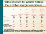 rates of return for conglomerate inc and two merger candidates
