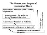 the nature and stages of curricular work