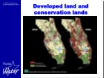 developed land and conservation lands